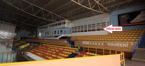 Press box at the arena